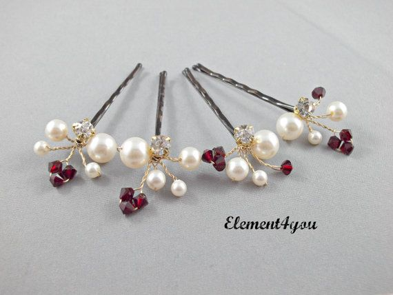 Bridal hair clip accessory Bobby pins Set of 4 por Element4you