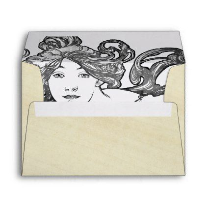 art nouveau lady mucha rice paper envelope cycling gifts