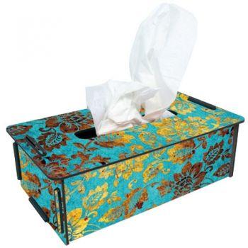"""Werkhaus Shop - Tissue-Box - 203 """"blau-gold Blüten"""""""