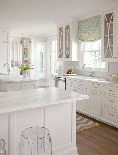 white kitchen. great lucite stools too! danielle oakey interiors: