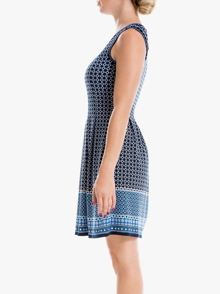 Max Studio Square Print Dress, Blue 17