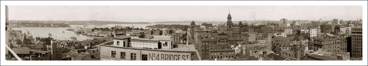 No. 4 Bridge St - Sydney c 1920. From the left, Circular Quay, Farm Cove, Bridge Street, Department of Lands Building, Australia Hotel and Warwick Building now the site of Australia Square and No. 4 Bridge Street in foreground.