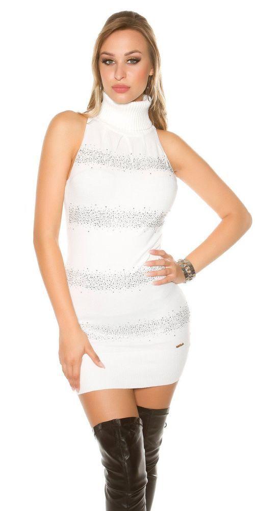 Sexy Abito corto vestitino Donna Maglione Lungo a collo alto aderente con  strass 4f93072f3f1
