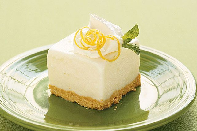 Lemonade concentrate blended with frozen yogurt tops a graham cracker crumb crust in this frosty, refreshing no-bake dessert.