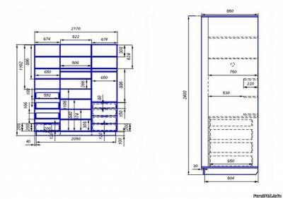 3-х дверный шкаф-купе - Шкафы - купе - Чертежи - Скачать модели, чертежи, мебели и фурнитуры - Мебель и интерьер своими руками