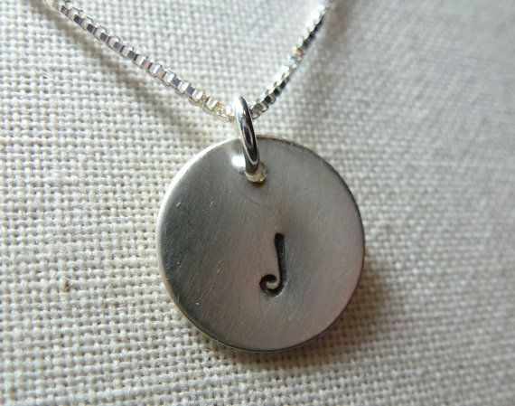 I fancy this. The initial already works! Yay!  Hand Stamped Initial Charm Necklace Custom  Moms by WildDogStudio, $26.00