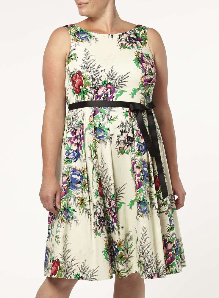 Scarlett and Jo Ivory Floral Prom Dress in Plus Size