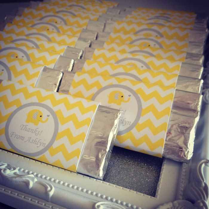 Yellow and Grey Elephant themed 1st birthday party via Kara's Party Ideas KarasPartyIdeas.com The Place for All Things Party!…