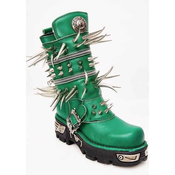 Maria ke Fisherman Emerald Spike Boots (£460) ❤ liked on Polyvore featuring shoes, boots, green shoes, spiked shoes, emerald shoes, spiked boots and emerald green shoes