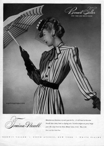 Vintage 1940s fashion- striped dress, hat and umbrella-  Traina-Norell, Bonwit Teller 1943