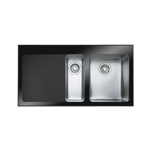 Franke Black Glass Sink : ) Franke KBV651B-LHD Double Bowl Kubus Kitchen Sink w_ Black Glass ...