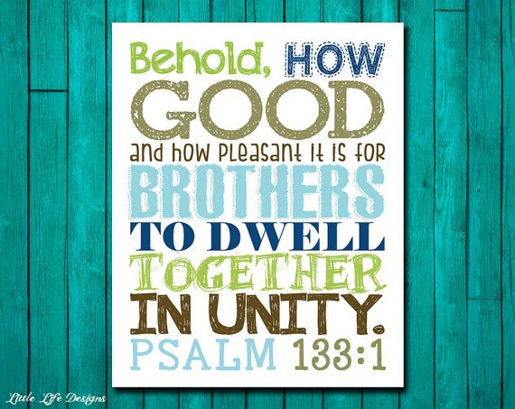 Brothers Wall Art. Boys Room Decor. Psalm by LittleLifeDesigns