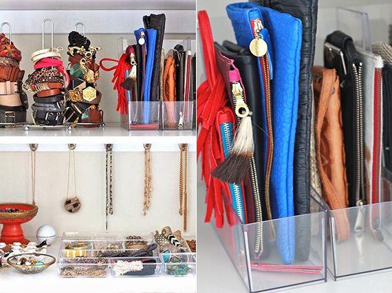 Clutch und Portmonee in zeitschrifsammler organisieren um ordnung im kleiderschrank zu schaffen