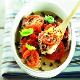 Vis uit de oven met geroosterde tomatentopping