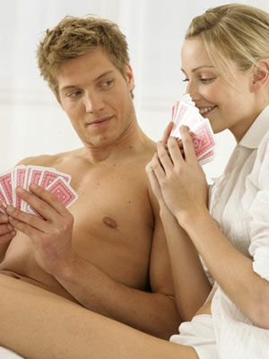 Play strip poker, shedding one item of clothing every time you lose. See if you can make it through more than just a few hands.