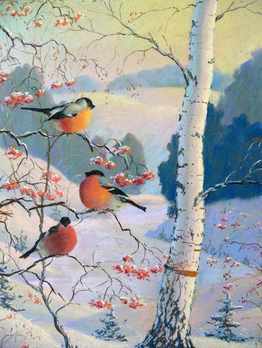 картинка с добрым утром зимние со снегирями нет предела