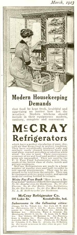 MODERN HOUSEKEEPING IN 1913 McCRAY REFRIGERATORS AD. Refrigerator with glass doors.