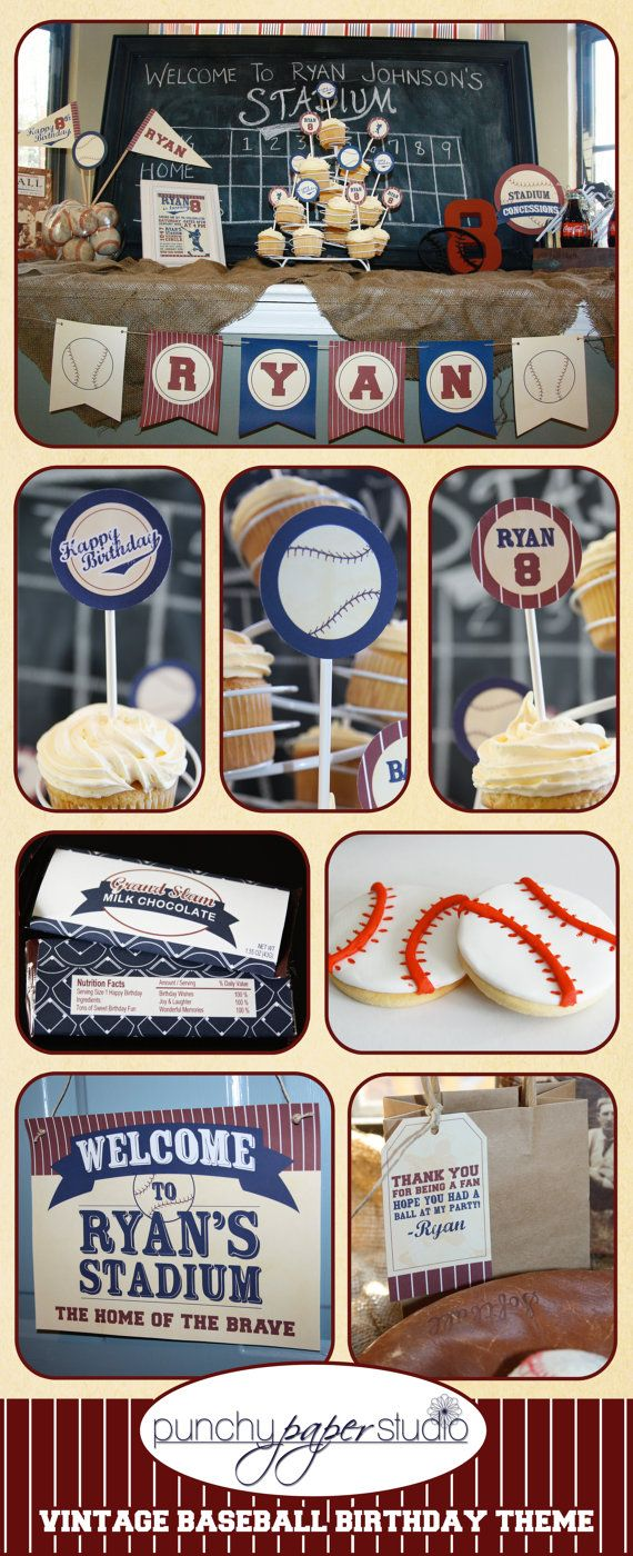 Vintage Baseball Birthday Party Theme by punchypaperstudio