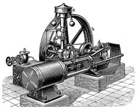 9. Liegende Einzylinder-Dampfmaschine.