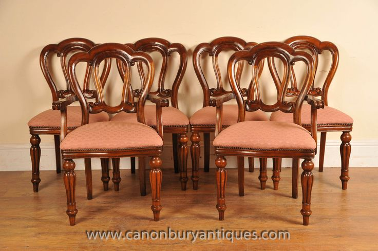 http://canonburyantiques.com/s/dining-sets/victorian-dining-sets/1/  Classic set of Victorian balloon back dining chairs - look great around an extending mahogany table. Large range of other Victorian chairs in stock..
