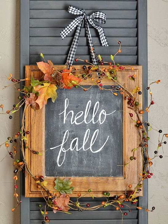 Craft a beautiful fall wreath using something totally unexpected, says @garden_therapy. A few ideas: chalkboards, air plants, split peas, and even copper pipes.