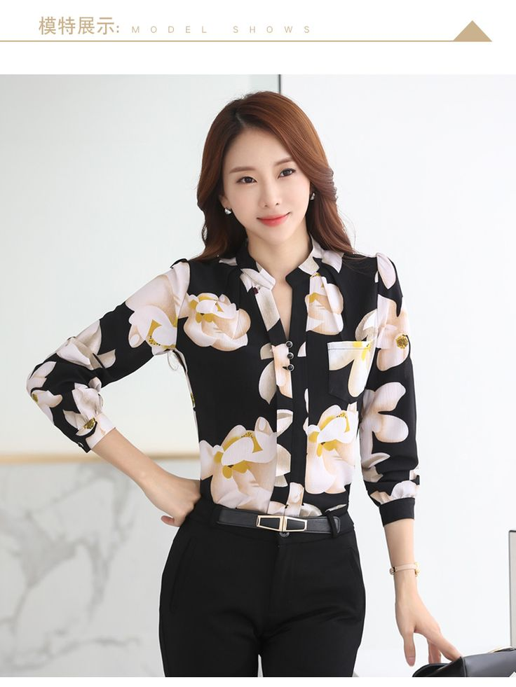 Chic Floral Print Chiffon Blouse in Black and