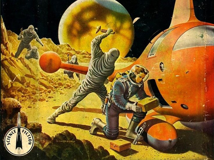 Secret of the Martian Moons (1955) - note the canals on Mars - cover by Alex Schomburg
