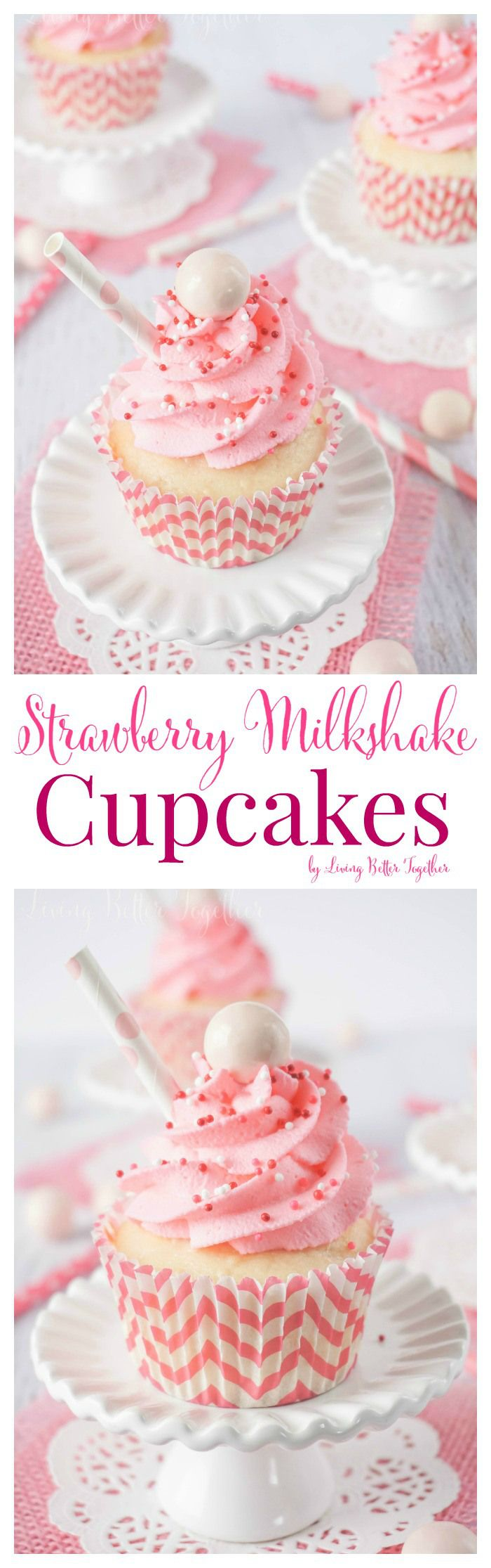 These Strawberry Milkshake Cupcakes have a vanilla malt base and are topped with a strawberry milk whipped cream frosting, sprinkles, and a whopper! Make them for an instant trip down memory lane.