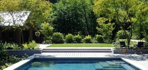 pool step, wood deck, planters