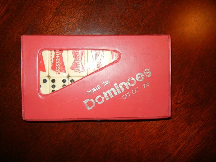 Vtg Budweiser Bow Tie 28 Piece Double Six Dominoes Set