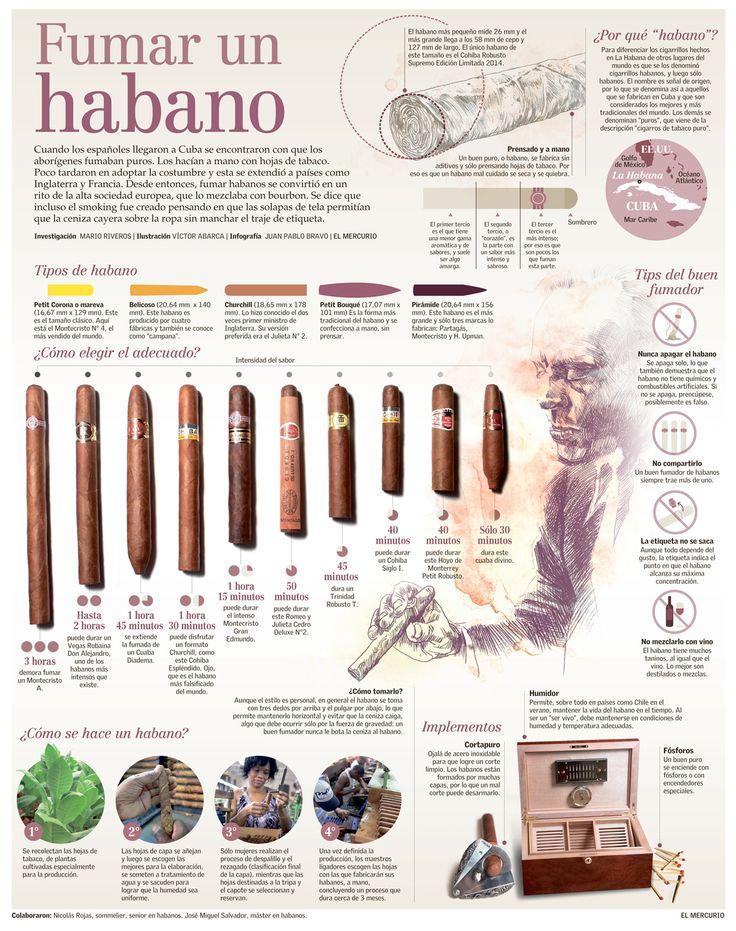 """Fumar un habano/ """"Smoking a Cuban Cigar"""", explained visually by Juan Pablo Bravo for Diario El Mercurio"""