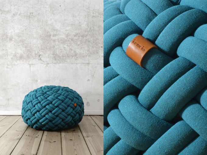 pouf tricot ku me ko pouf in wool pinterest poufs x and search. Black Bedroom Furniture Sets. Home Design Ideas