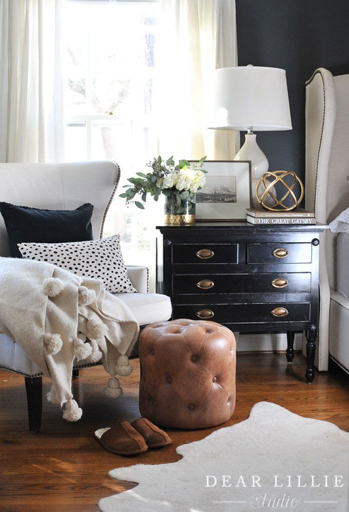 A gold orb like this one from HomeGoods helps add interest to a nightstand. (sponsored pin)