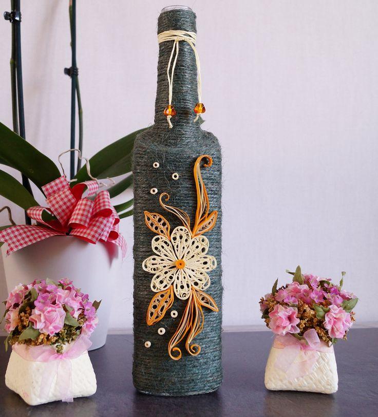 bottle decor, wine bottle decor, decorated bottles, home wine bottle decor, custom wine bottle, twine wrapped wine bottles, wine bottle art by InnArtShop on Etsy