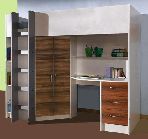 Cambridge High Sleeper Cabin Bed inc Wardrobe, Chest of Drawers, Bookcase, Desk, Shelving M2430