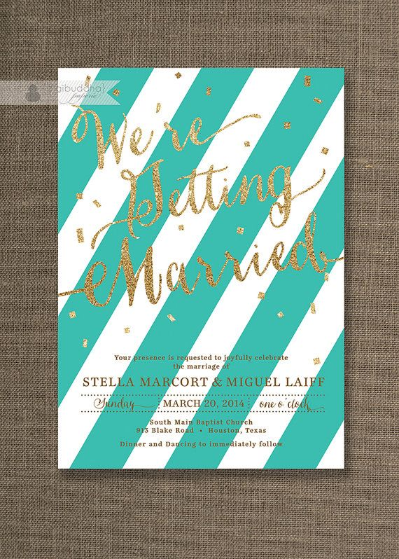 Turquoise & Gold Wedding Invitation Aqua by digibuddhaPaperie, $28.00  PDF/JPG (hvis bilde)-fil til egen printing. Kun pris for kort, ikke rsvp osv. Har sendt forespørsel om fargevalg og enkelt eller dobbelt Svar: farge kan endres mot tillegg og kortet er enkelt. Svar: Our invite designs are flat, one-sided. The turquoise can be replaced with an alternate color for $5 charge for the change. www.etsy.com/listing/93379056/digibuddha-paperie-custom-color-add-on