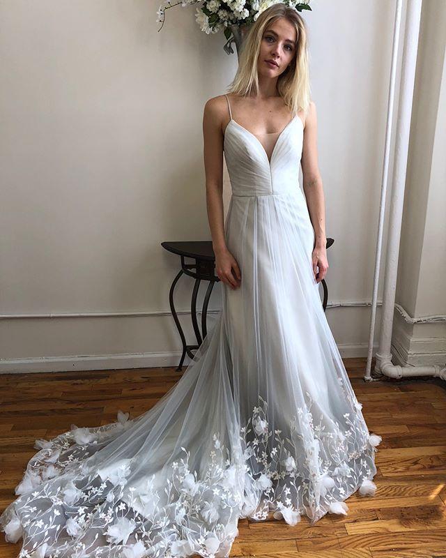 0239d444a14b0 Peek-a-PENELOPE! The 3D floral embellishments on this #bluish  #greyweddingdress #penelopegown #kellyfaetanini #blueweddingdress # somethingblue #ballgown ...
