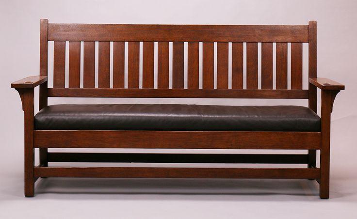 Gustav Stickley bench settle. Unsigned. 71.25″w x 38″h x 26″d