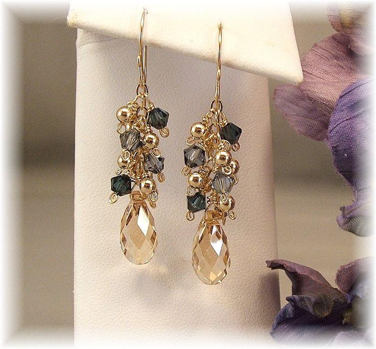 Navy Blue Earrings, Bridesmaid Earrings, Blue Weddings, 14k Gold Filled and Swarovski Crystal, Dark Blue Earrings. $33.00, via Etsy.