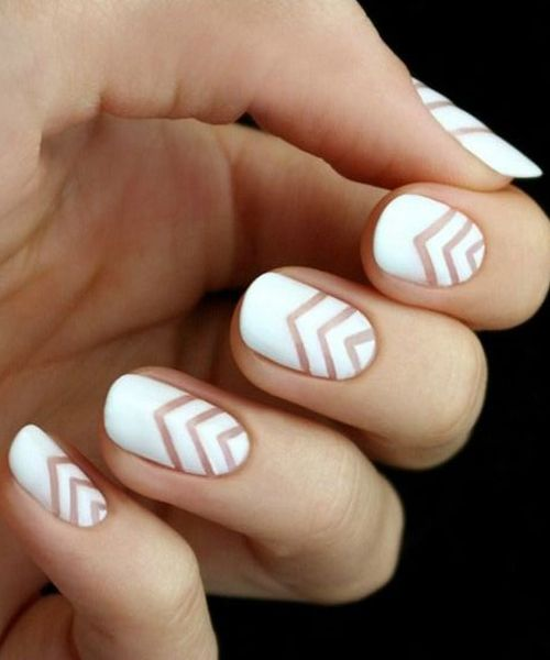 Best 25 white nail art ideas on pinterest prom nails gold tip cute v shaped white nail art designs prinsesfo Images