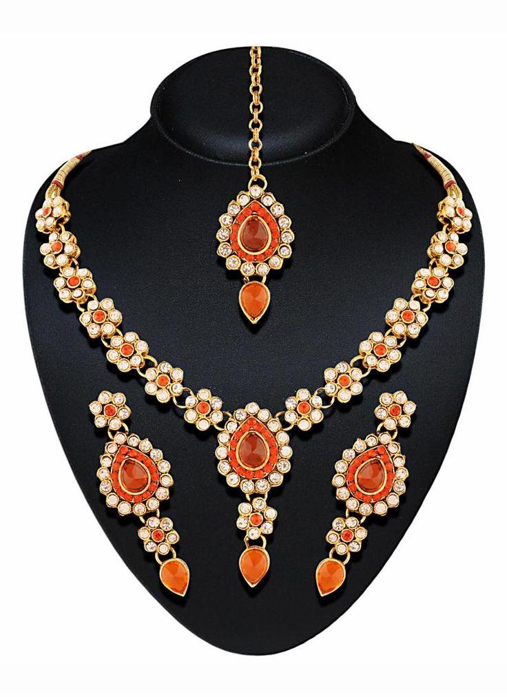 #Orange #Golden #Floral #Traditional #Designer #Wedding #Artificial #Jewellery