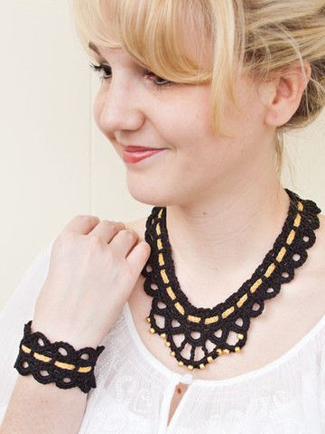Black Thread Crochet Cuff and Necklace Pattern by Susan Lowman at Maggie's Crochet