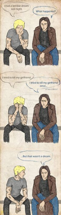 If Jace (Mortal Instruments series) and Dimitri (Vampire Academy series) had a little chat... I'm ashamed I get this...
