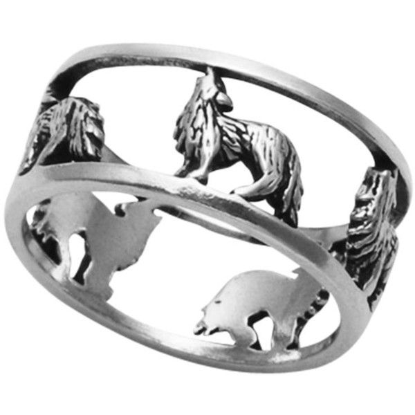 Sterling Silver Openwork Wolf Band Ring ($30) ❤ liked on Polyvore featuring jewelry, rings, sterling silver jewellery, wolf jewelry, band rings, band jewelry and sterling silver rings