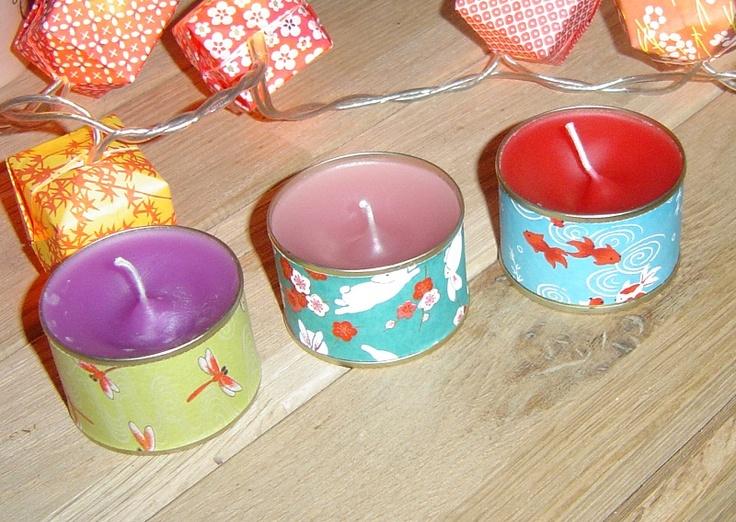 bougies avec de petites boites de conserve