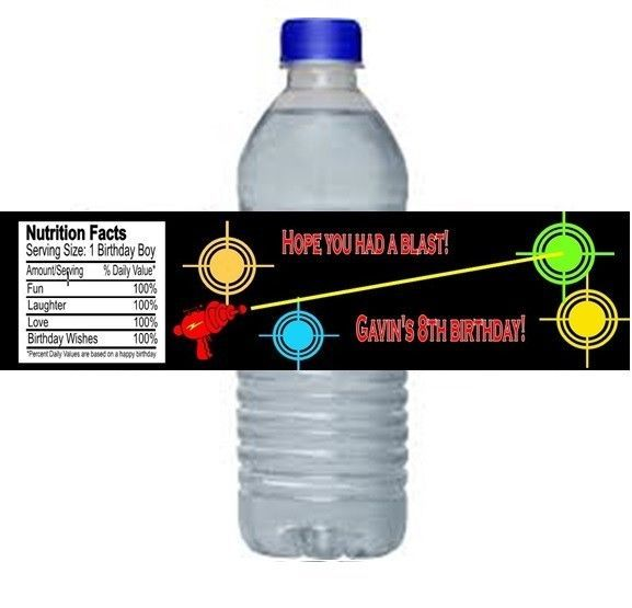 Laser Tag Water Bottle Labels Wrappers Party Favors Personalized Custom