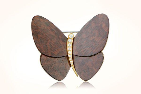 Van Cleef Wood Butterfly Brooch