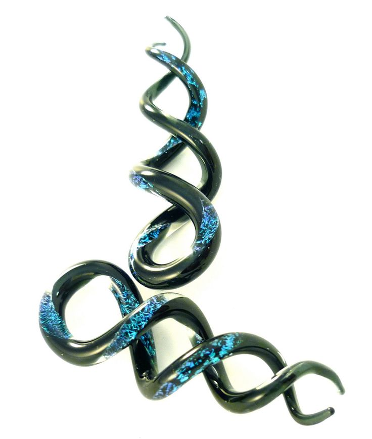 Two-Tone Dichroic Helix Shapes Ear Plug Gauges Borosilicate Pyrex