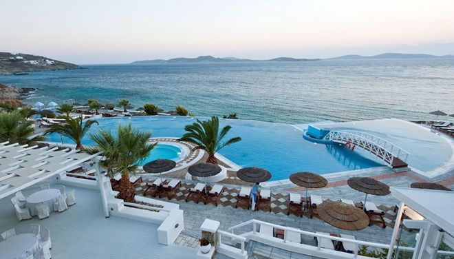 I stayed here in summer of 2010 and it's lovely, all Suites, infinity salt water pools and private beach St. John resort Mykonos in Greece