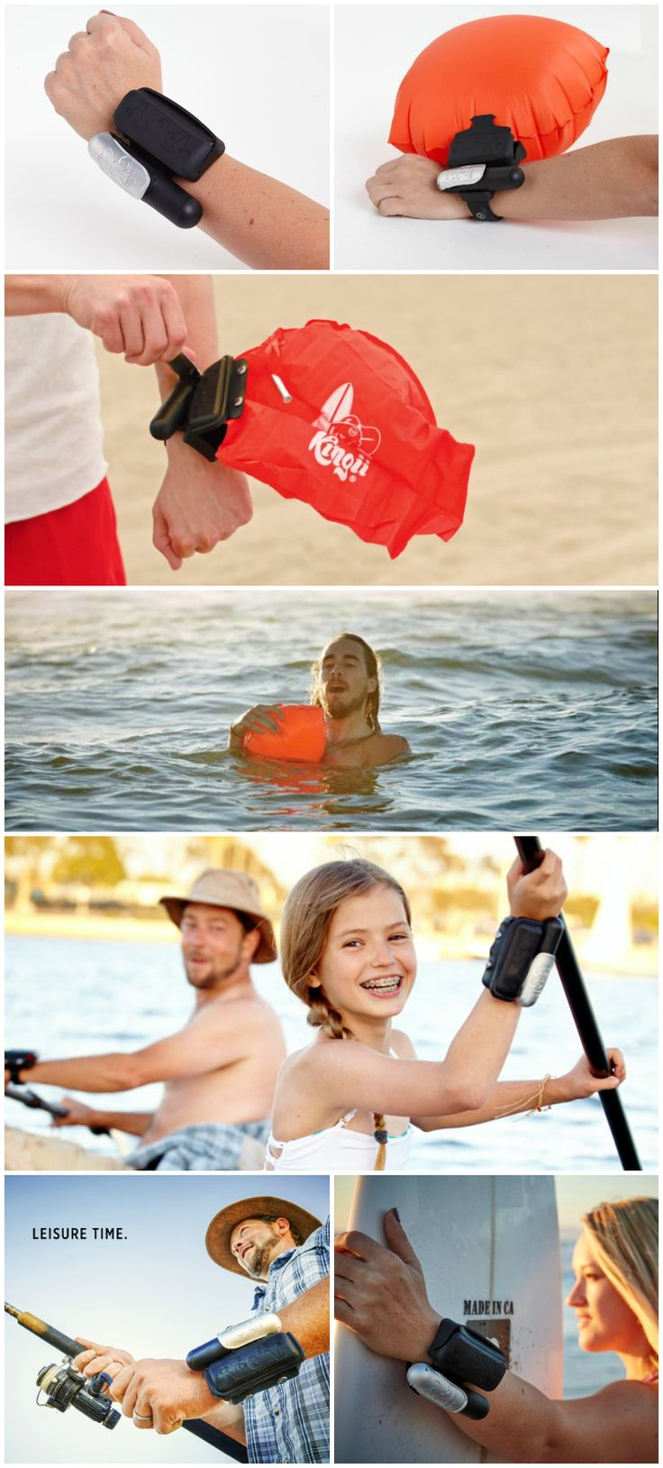 Kingii is the new wearable for all of you who love the water. If you need help to stay afloat, pull the lever and an inflation bag pulls you to the surface.